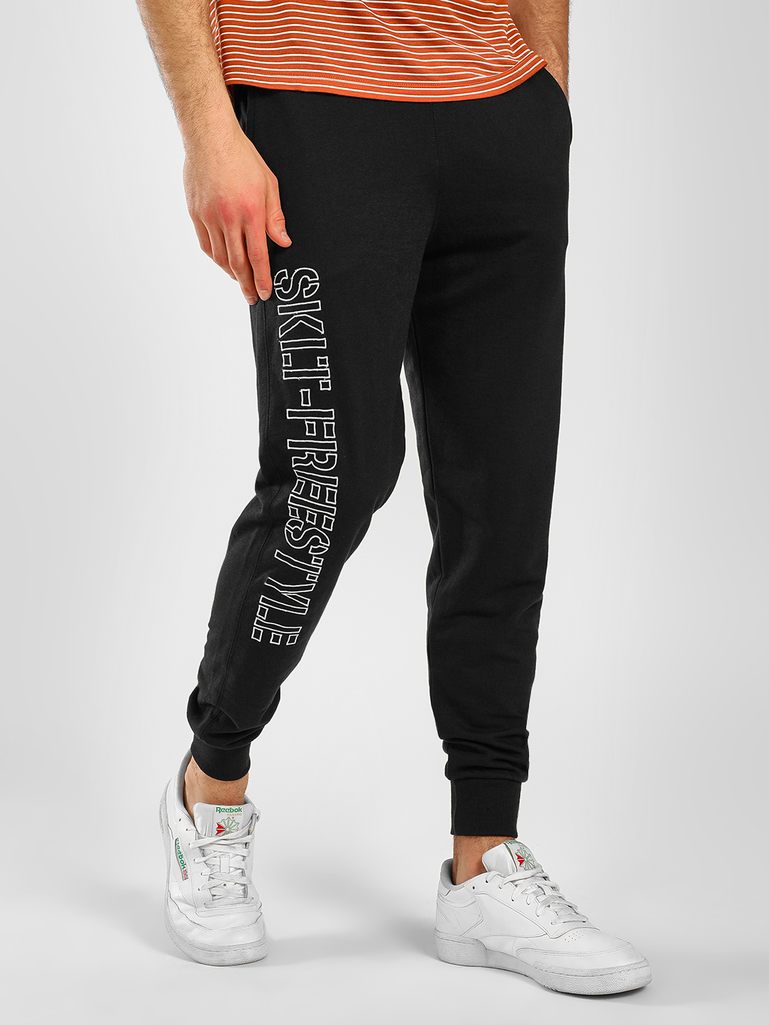 SKULT By Shahid Kapoor Black Side Embroidered Text Joggers 1