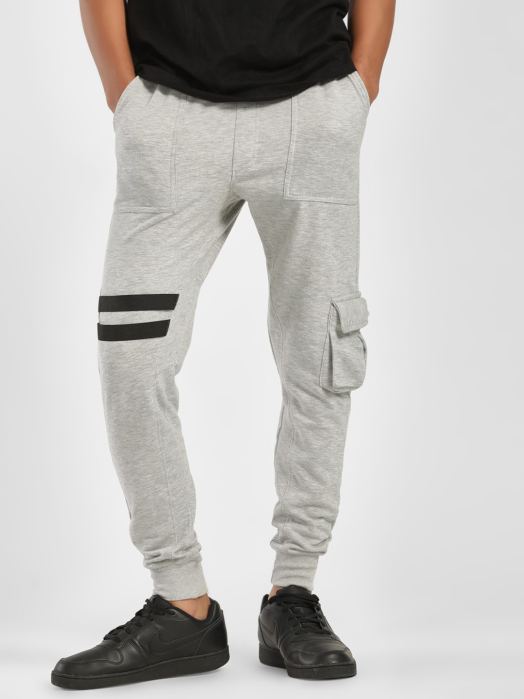 SKULT By Shahid Kapoor Grey Twin Tape Detail Cargo Joggers 1