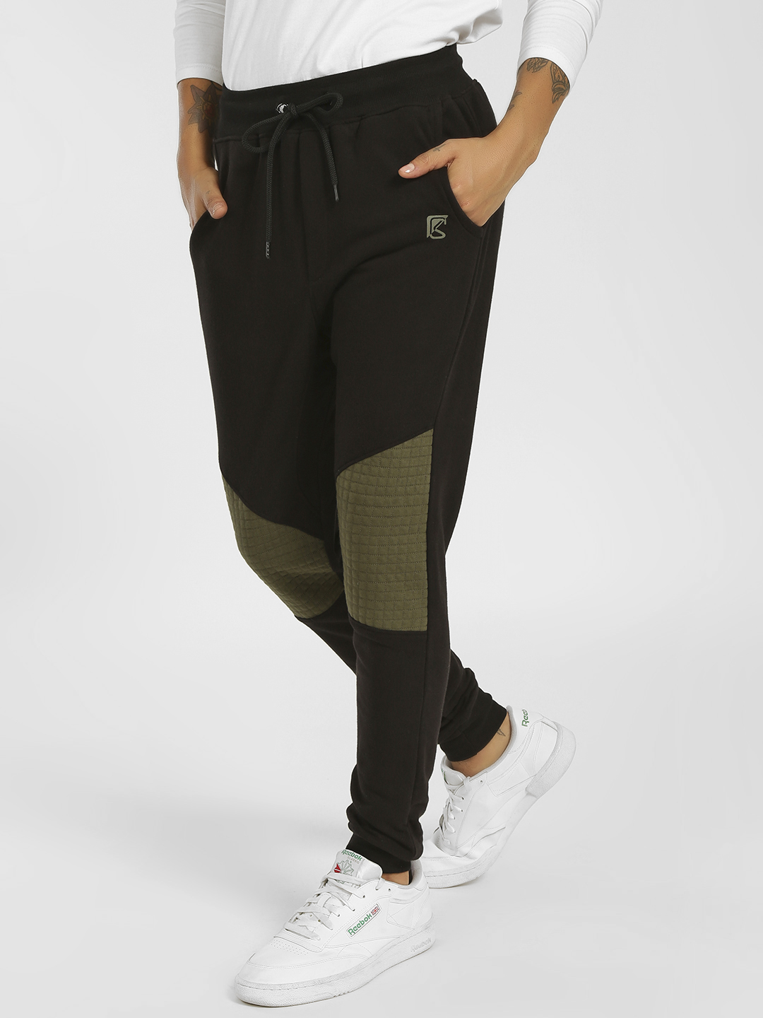 SKULT By Shahid Kapoor Black Quilted Biker Panel Joggers 1