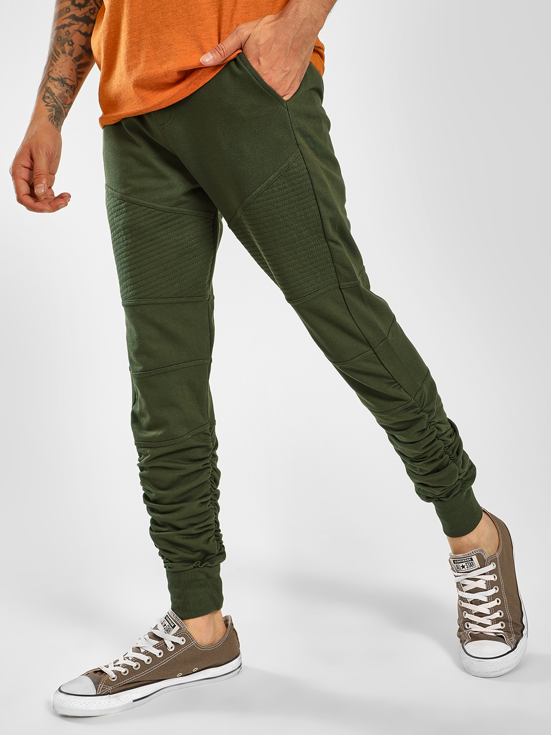 SKULT By Shahid Kapoor Green Biker Panel Ruched Hem Joggers 1