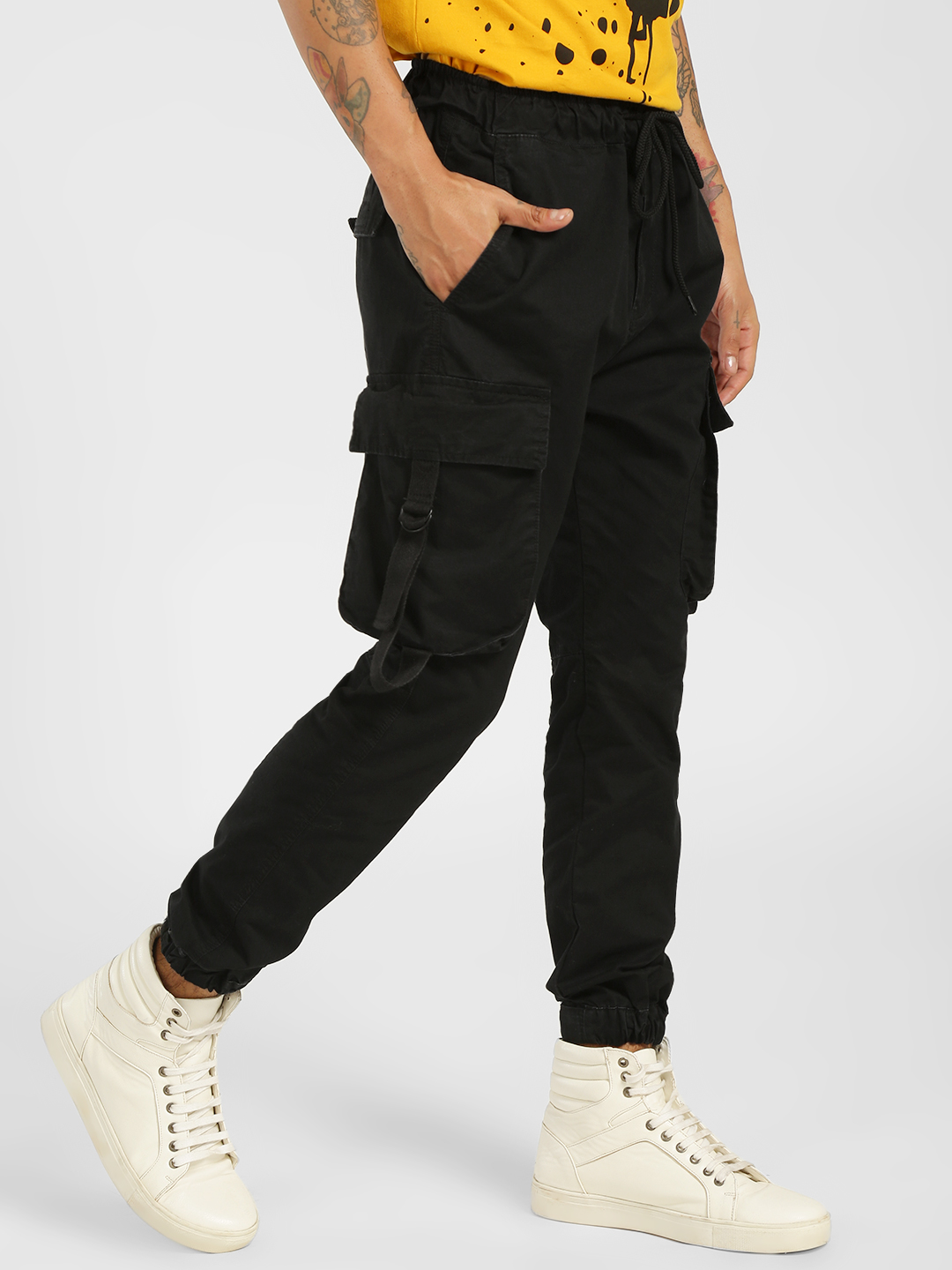SKULT By Shahid Kapoor Black Cropped Patch Pocket Joggers 1