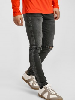 SKULT By Shahid Kapoor Distressed Side Text Slim Jeans