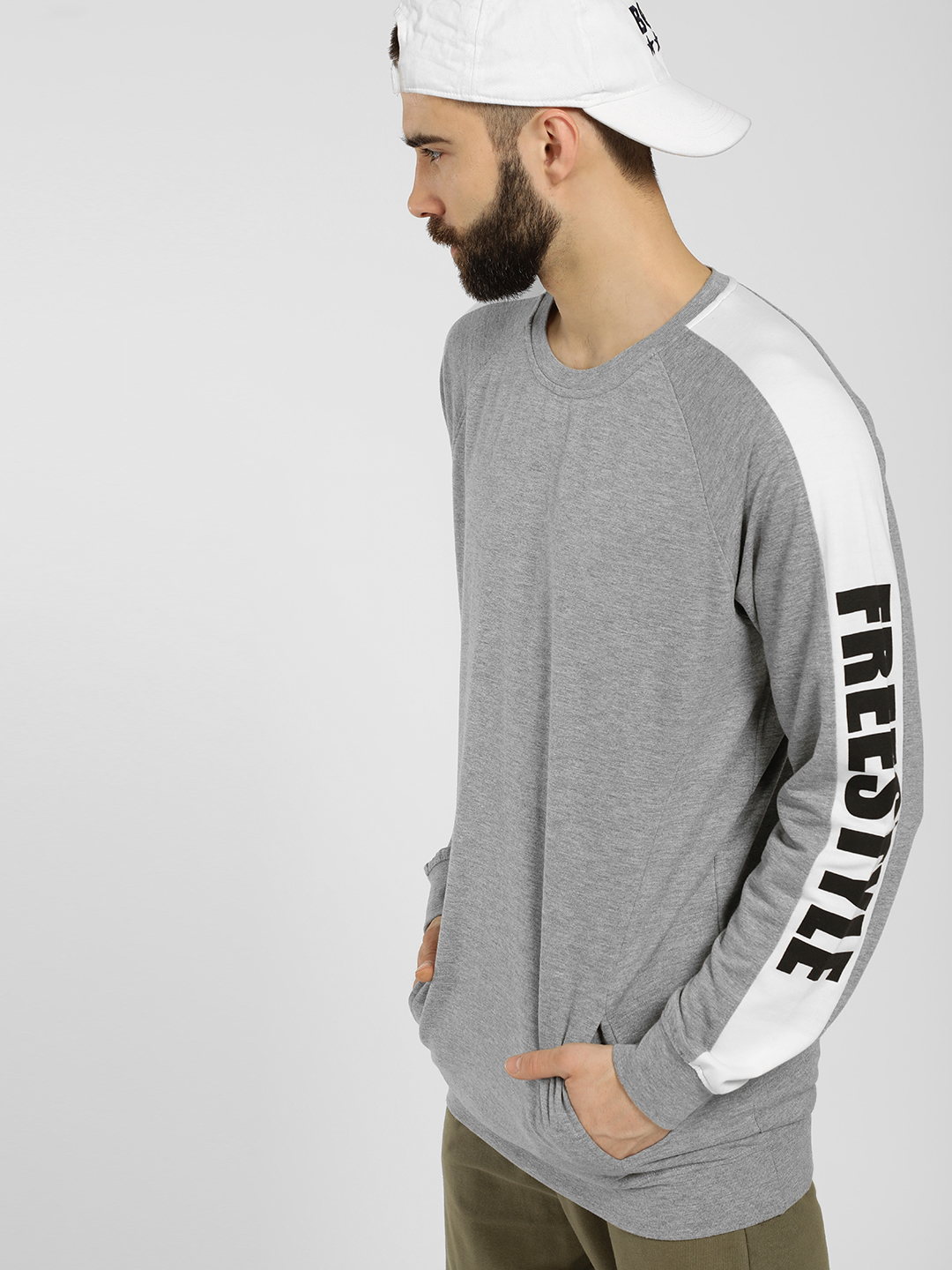 SKULT By Shahid Kapoor Grey Side Text Tape Sweatshirt 1