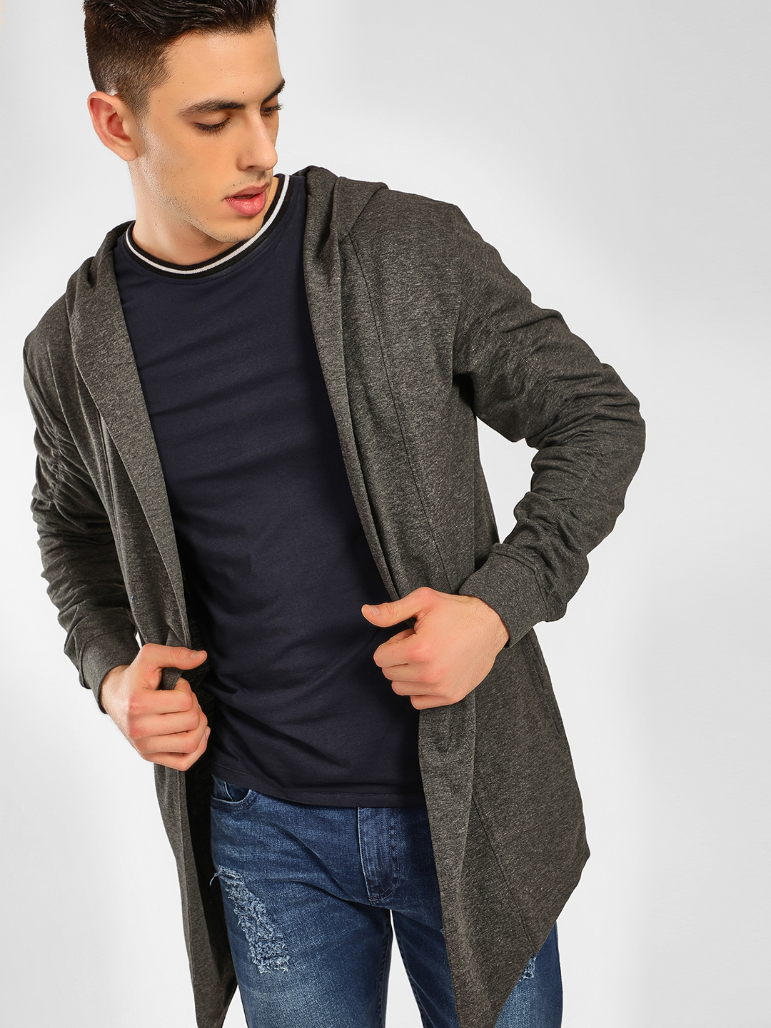 SKULT By Shahid Kapoor Grey Hooded Neck Waterfall Cardigan 1