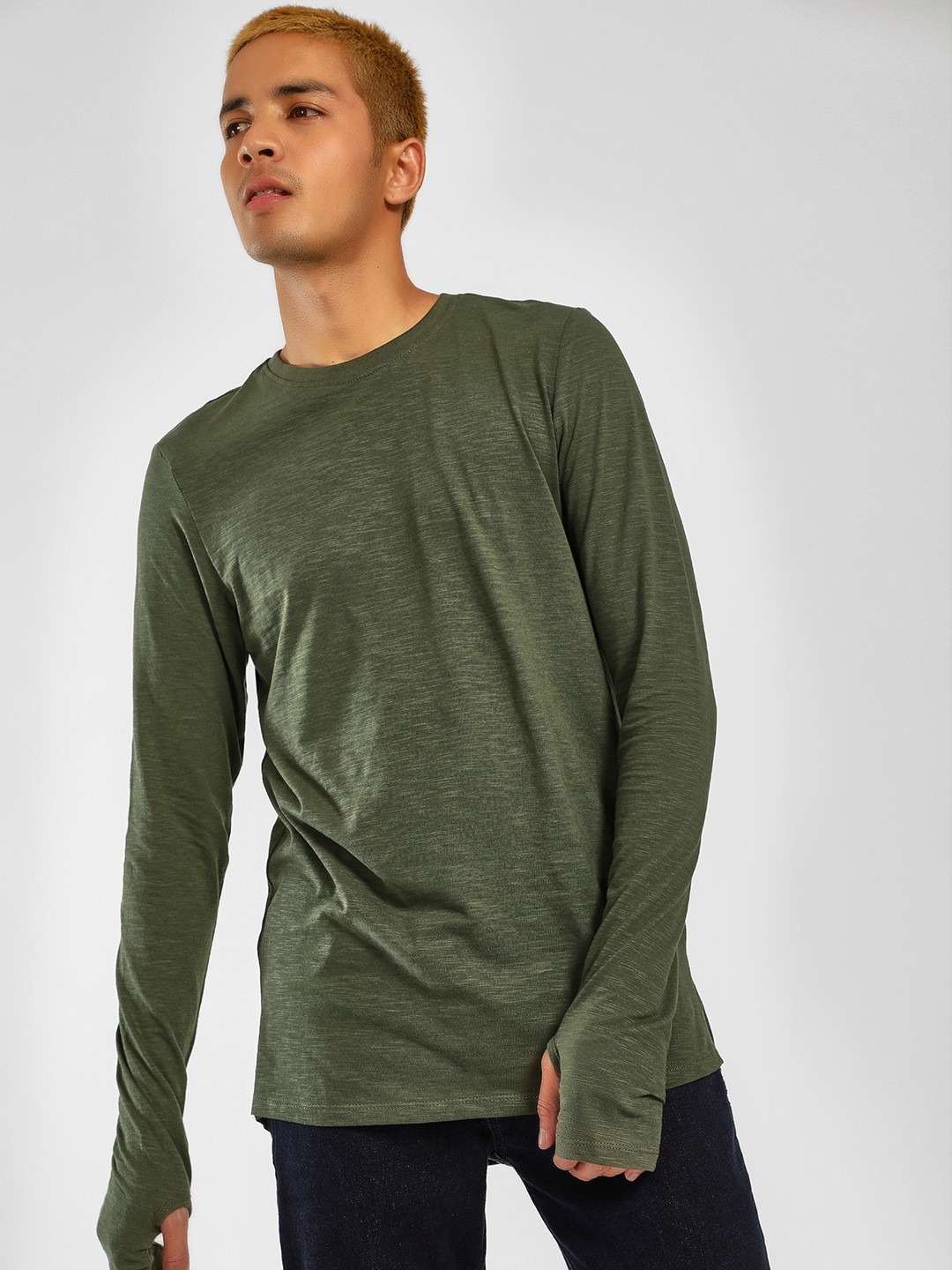 SKULT By Shahid Kapoor Green Basic Thumbhole Sleeve T-Shirt 1