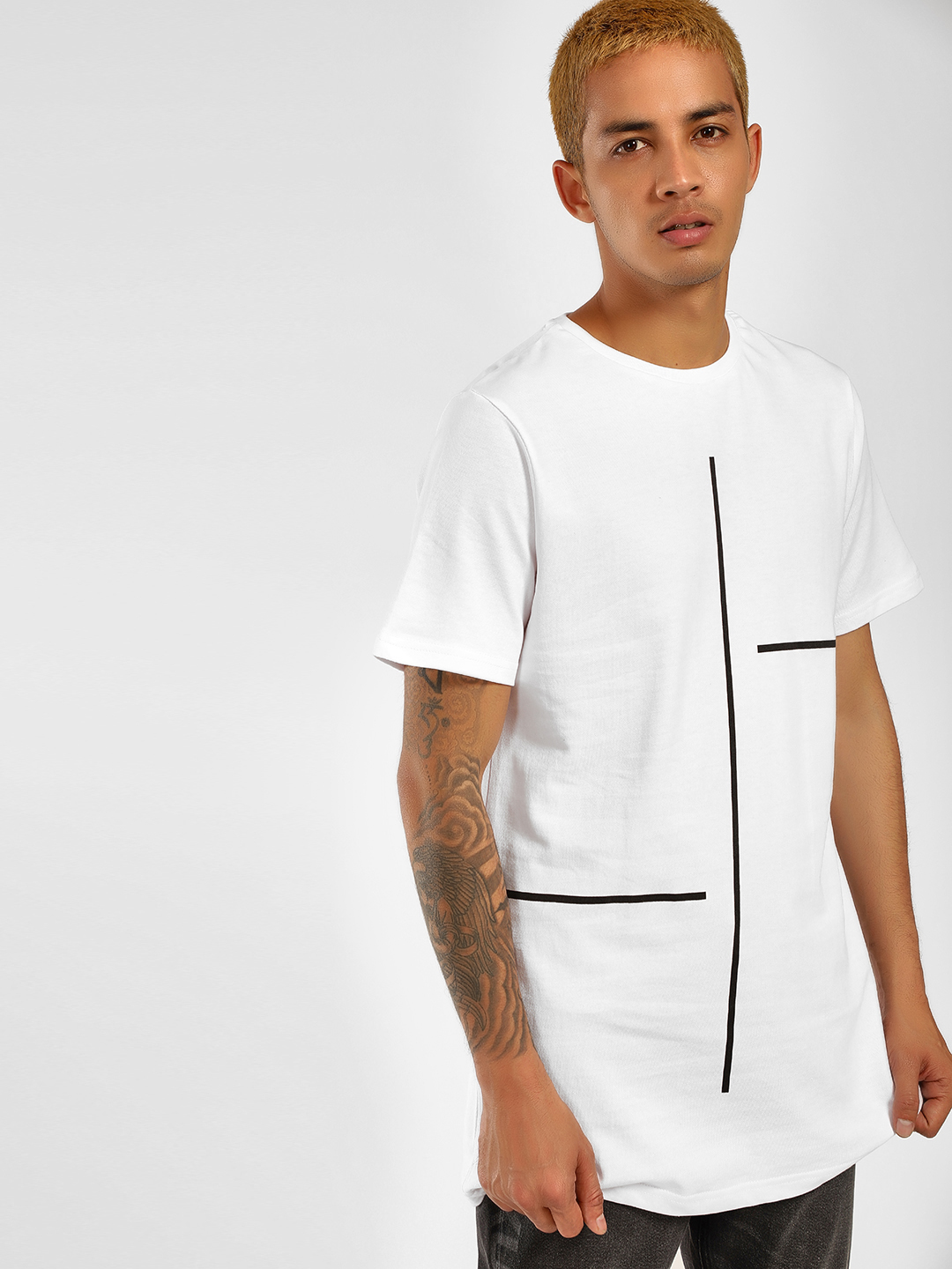 SKULT By Shahid Kapoor White Striped Placement Print T-Shirt 1