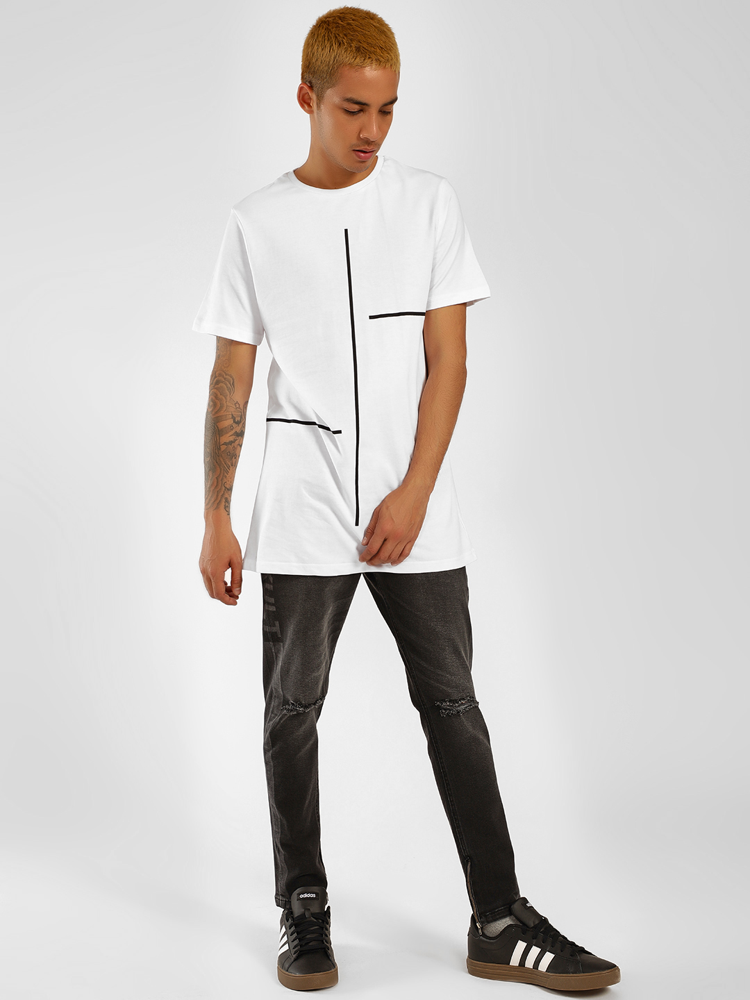 Buy SKULT By Shahid Kapoor White Striped Placement Print T ...