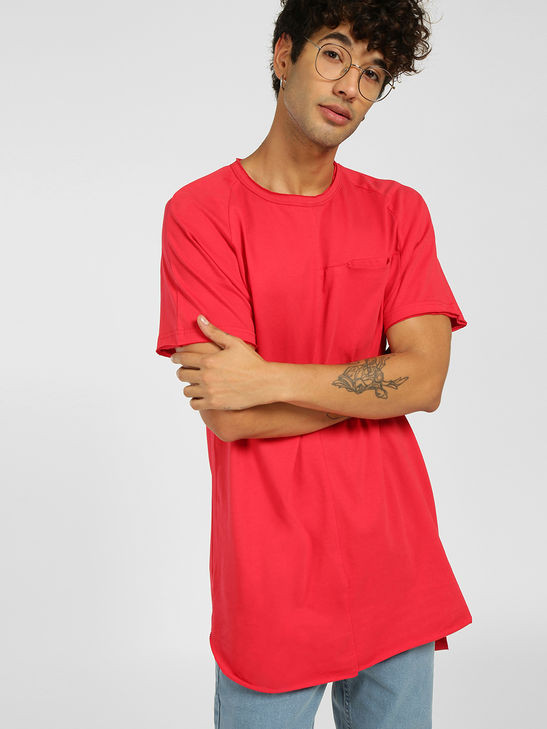 SKULT By Shahid Kapoor Red Raw Hem T-Shirt 1