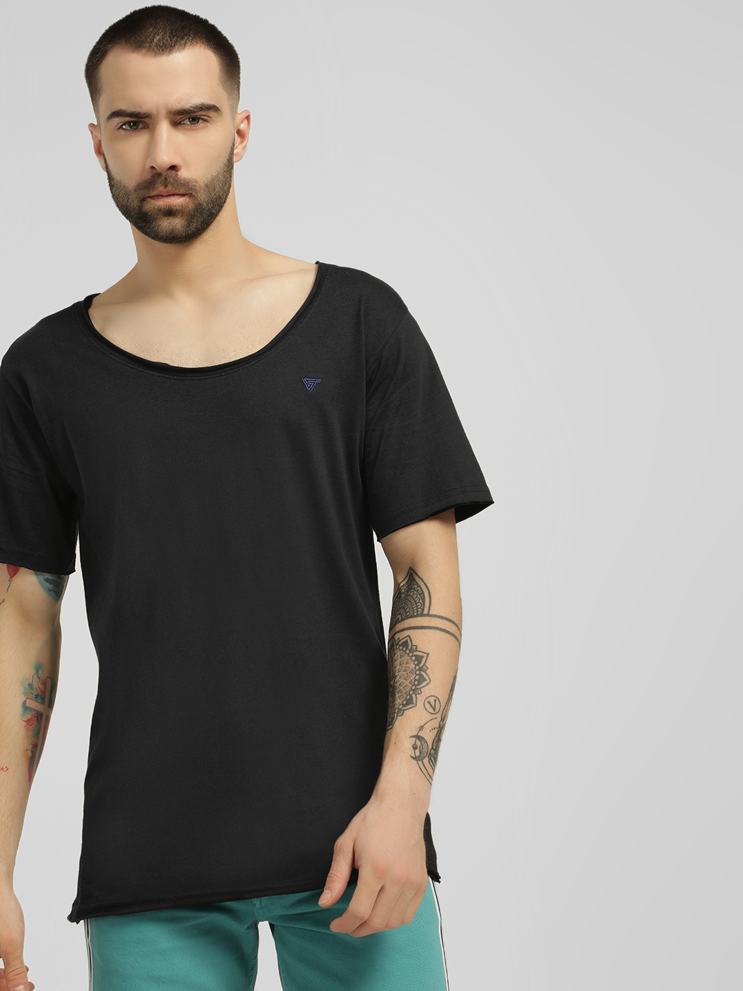 Blue Saint Black Raw Edge Scoop Neck T-Shirt 1