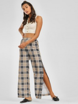 KOOVS Side Button Plaid Check Palazzo Pants