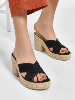 KOOVS Suede Cross Strap Heeled Sandals