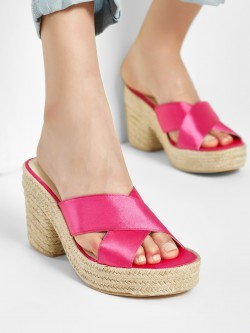 KOOVS Satin Cross Strap Heeled Sandals