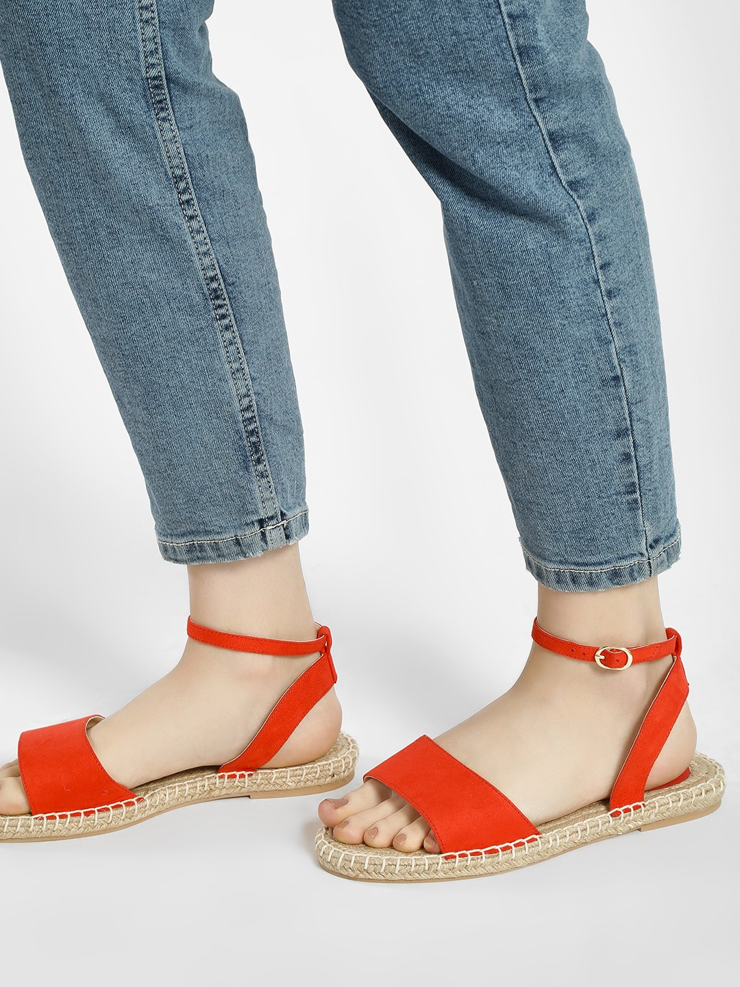 KOOVS Orange Broad Strap Espadrille Sandals 1