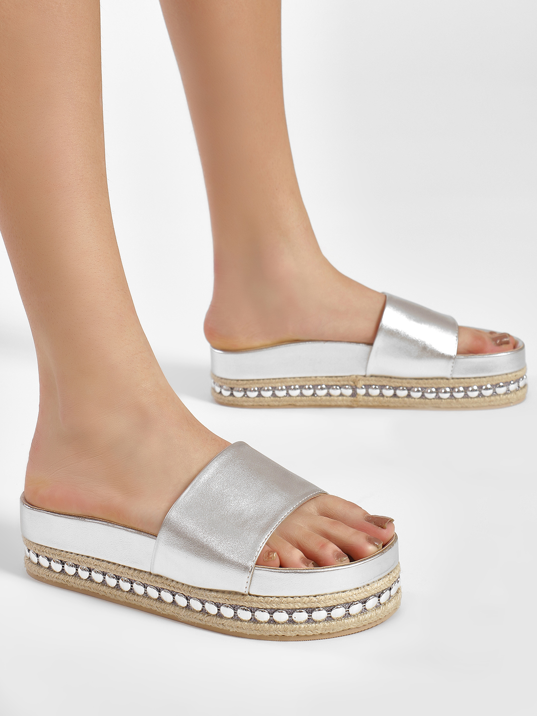 KOOVS Silver Studded Midsole Metallic Slides 1