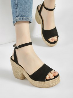 KOOVS Suede Strap Block Heeled Sandals