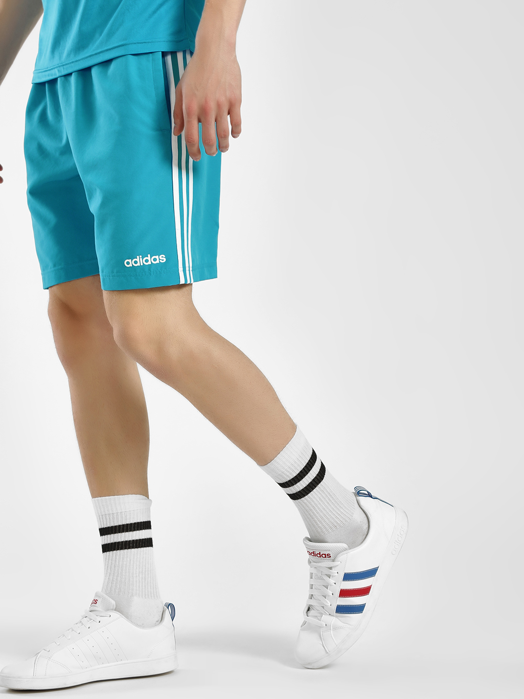 Adidas Blue 3-Stripe Shorts 1