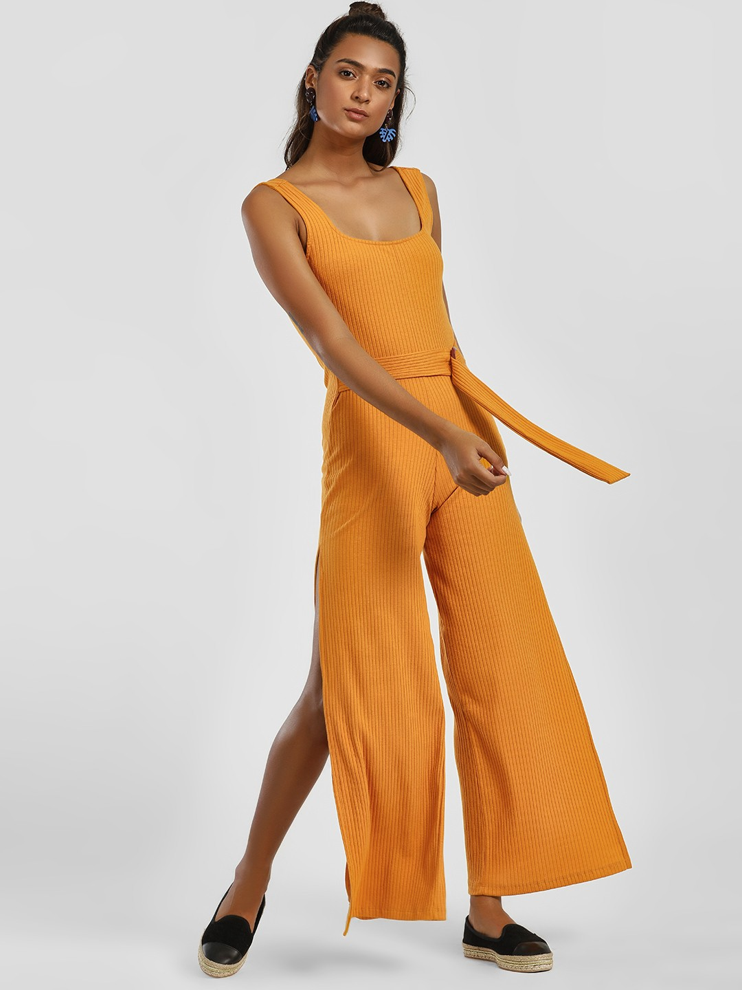 KOOVS Yellow All Over Ribbed Buckle Jumpsuit 1