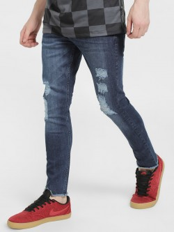 X.O.Y.O Distressed Mid Wash Slim Jeans