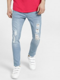 X.O.Y.O Distressed Light Wash Slim Jeans