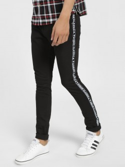 X.O.Y.O Text Side Tape Skinny Jeans