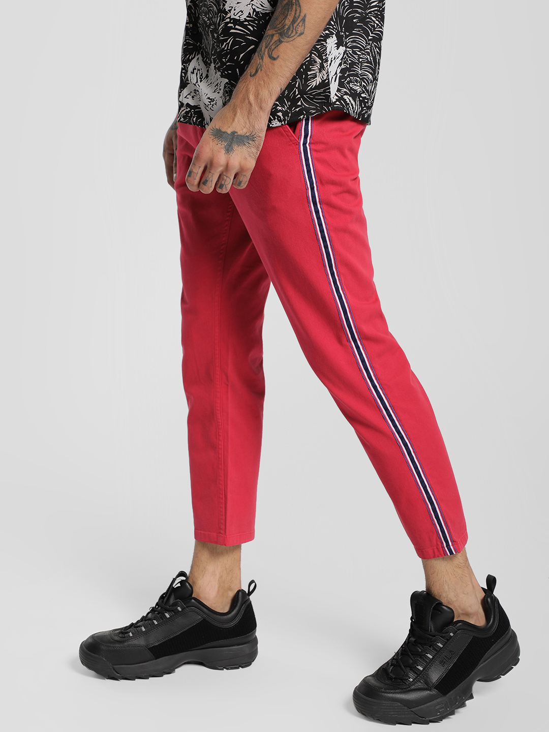 X.O.Y.O Red Contrast Side Tape Cropped Slim Trousers 1