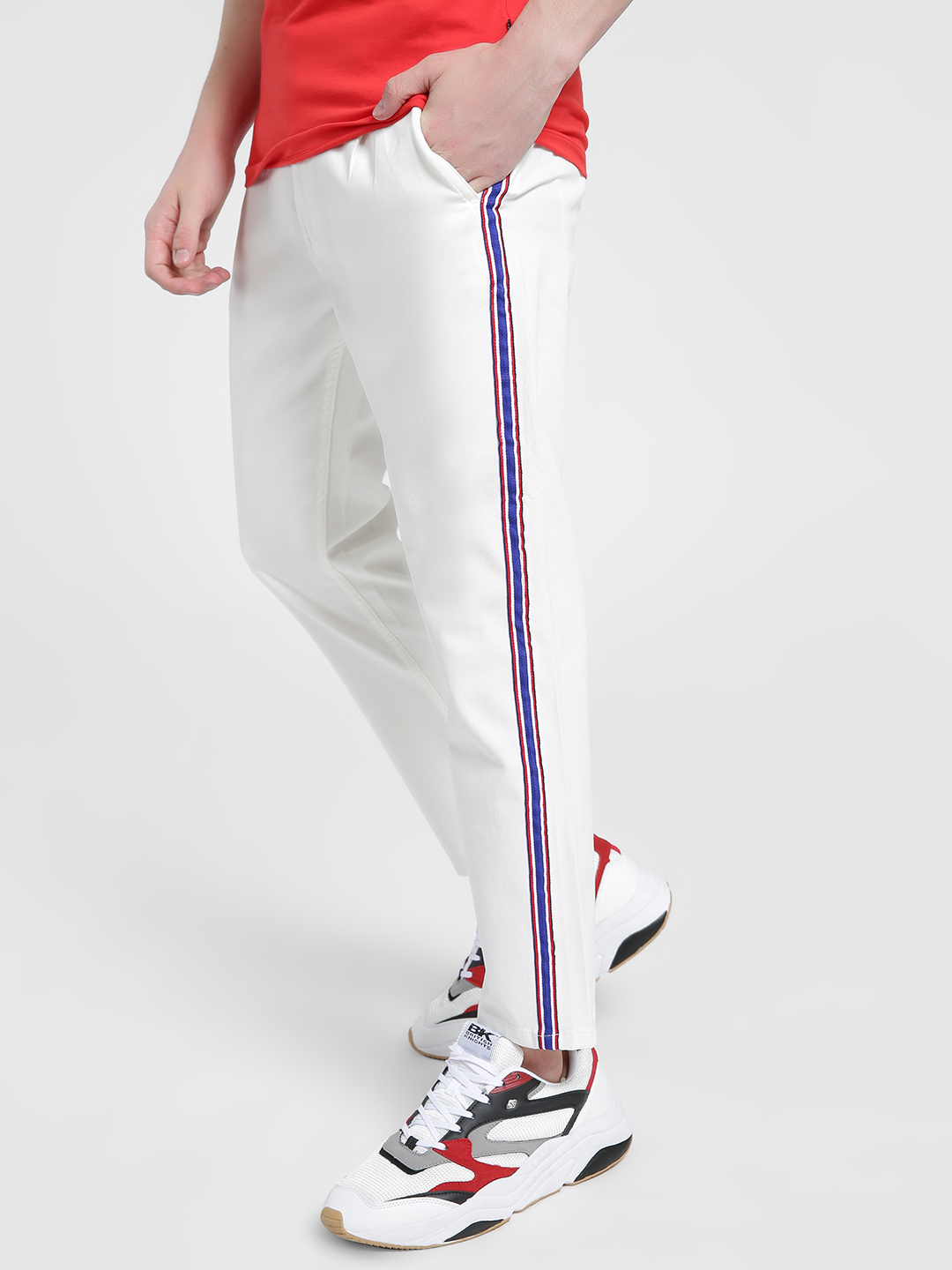 X.O.Y.O White Side Tape Cropped Trousers 1