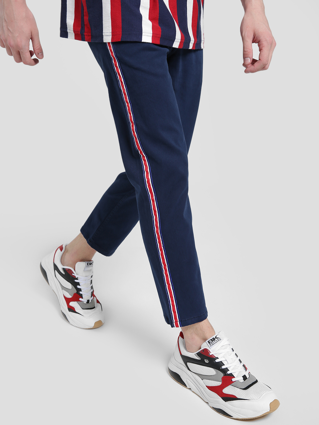 X.O.Y.O Blue Contrast Side Tape Cropped Slim Trousers 1