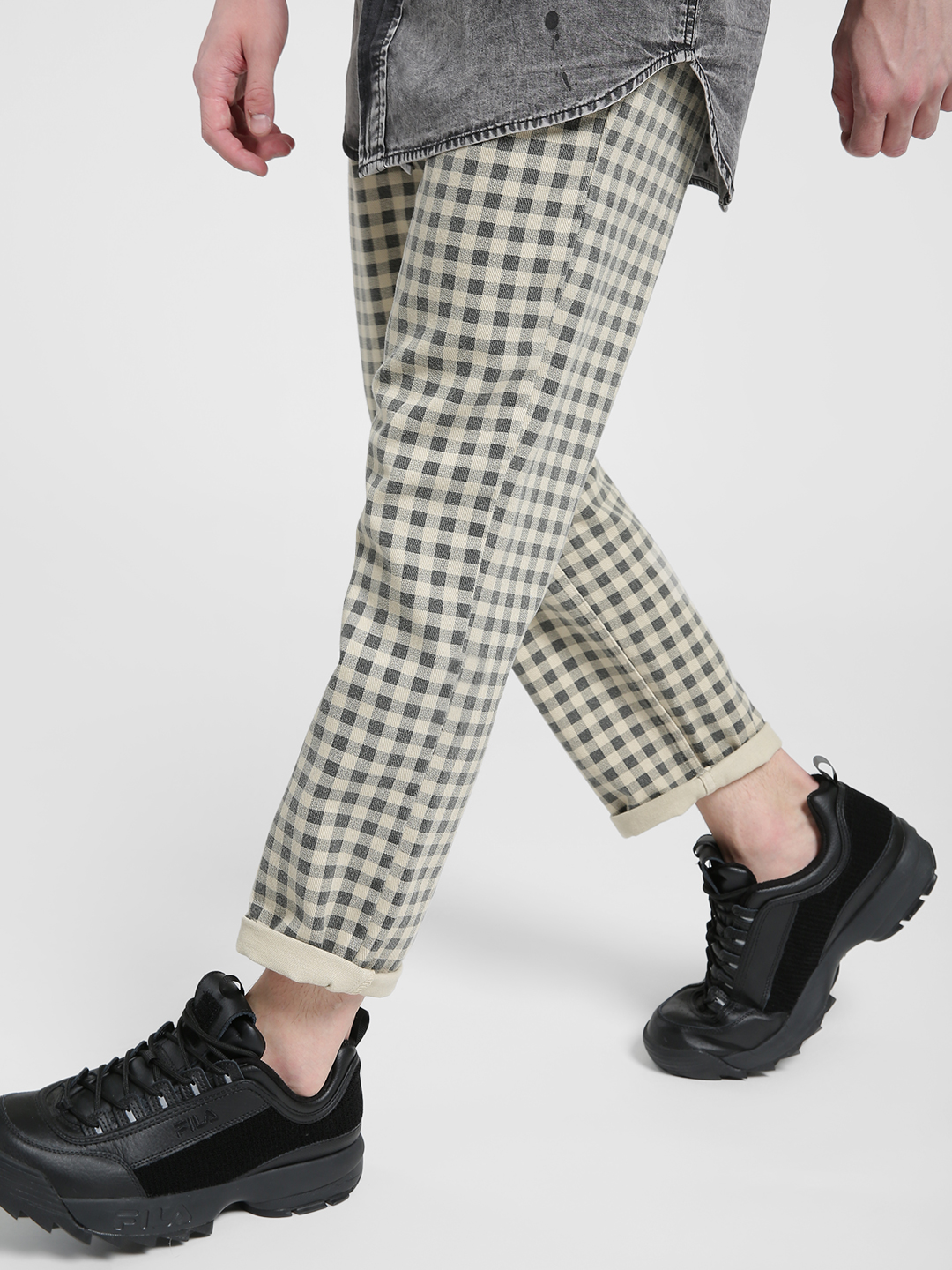 X.O.Y.O Multi Gingham Check Slim Trousers 1