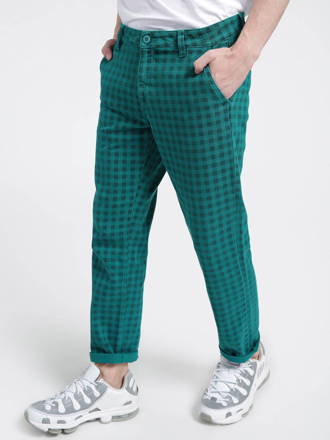 X.O.Y.O Green Gingham Check Cropped Slim Trousers 1
