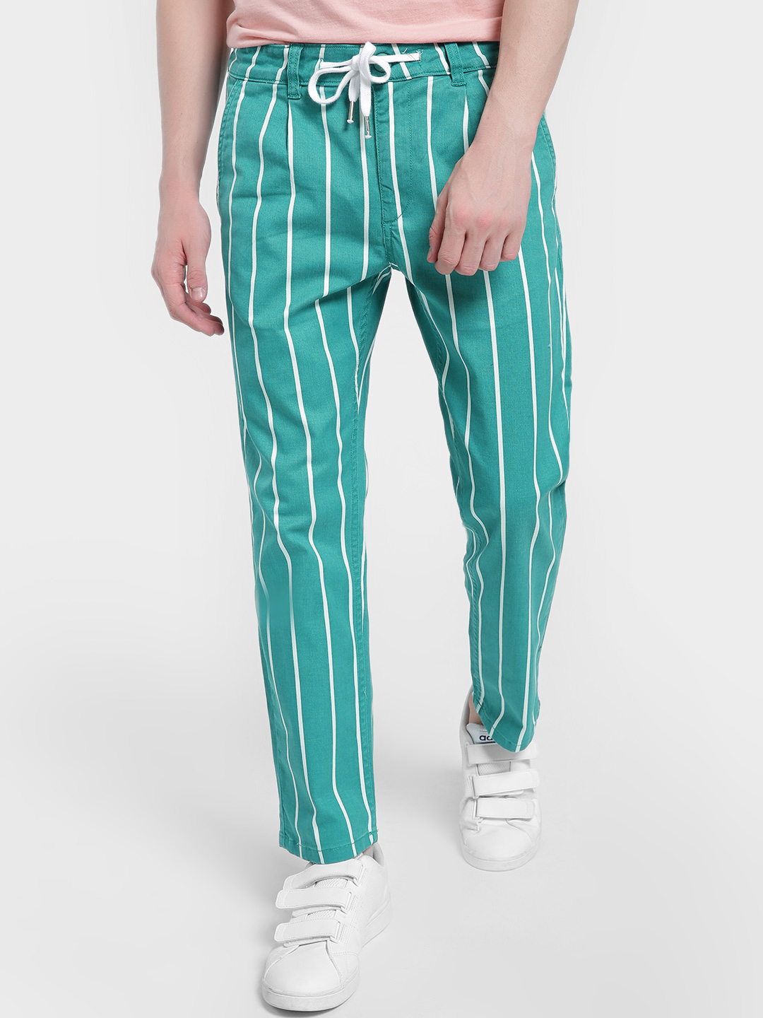 X.O.Y.O Green Vertical Stripe Drawcord Slim Trousers 1