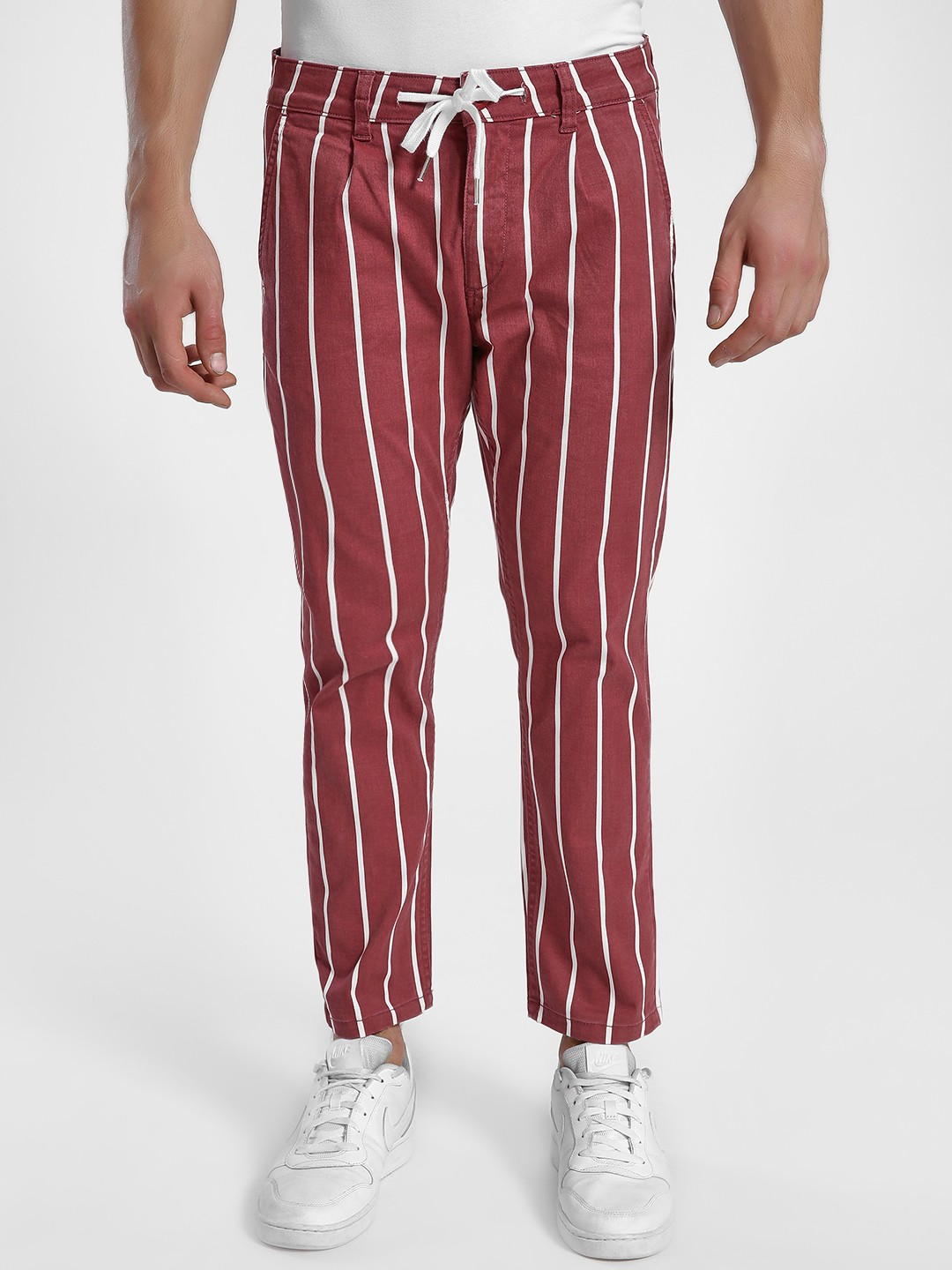 X.O.Y.O Red Vertical Stripe Cropped Trousers 1