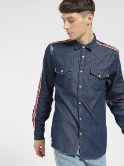 X.O.Y.O Contrast Side Tape Denim Shirt