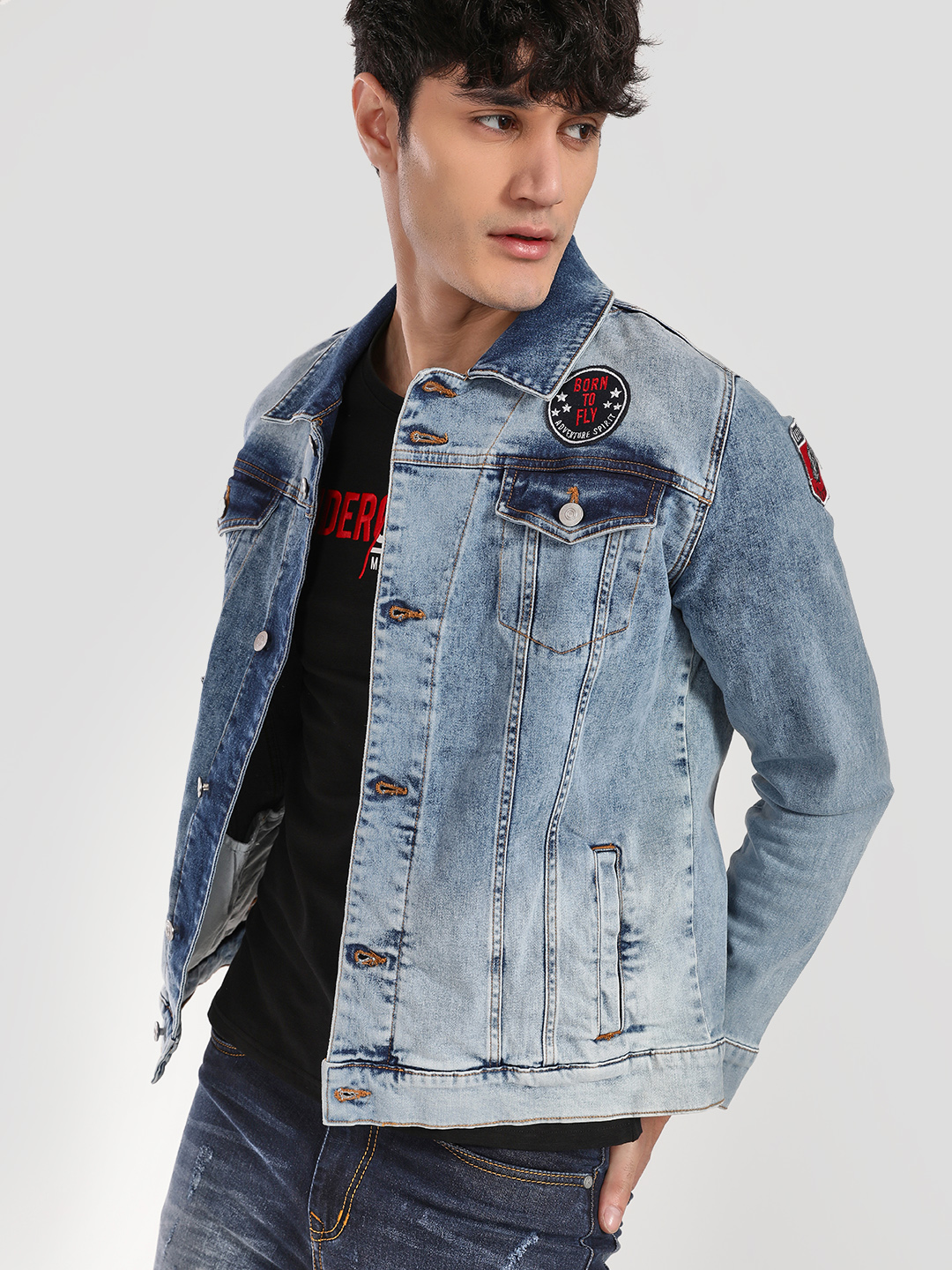 X.O.Y.O Blue Badge Acid Wash Denim Jacket 1