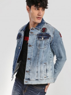 X.O.Y.O Badge Acid Wash Denim Jacket
