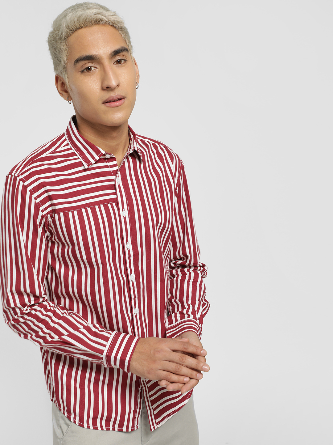 X.O.Y.O Red Asymmetric Stripe Casual Shirt 1