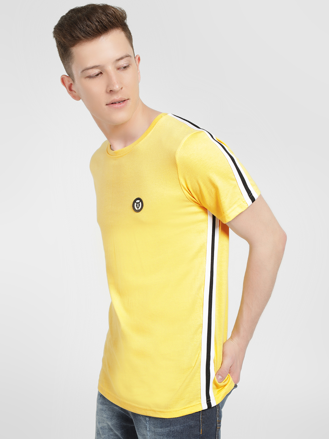 X.O.Y.O Yellow Contrast Side Tape T-Shirt 1