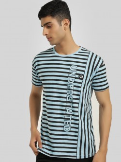 X.O.Y.O Understated Print Badge Applique Stripe T-Shirt