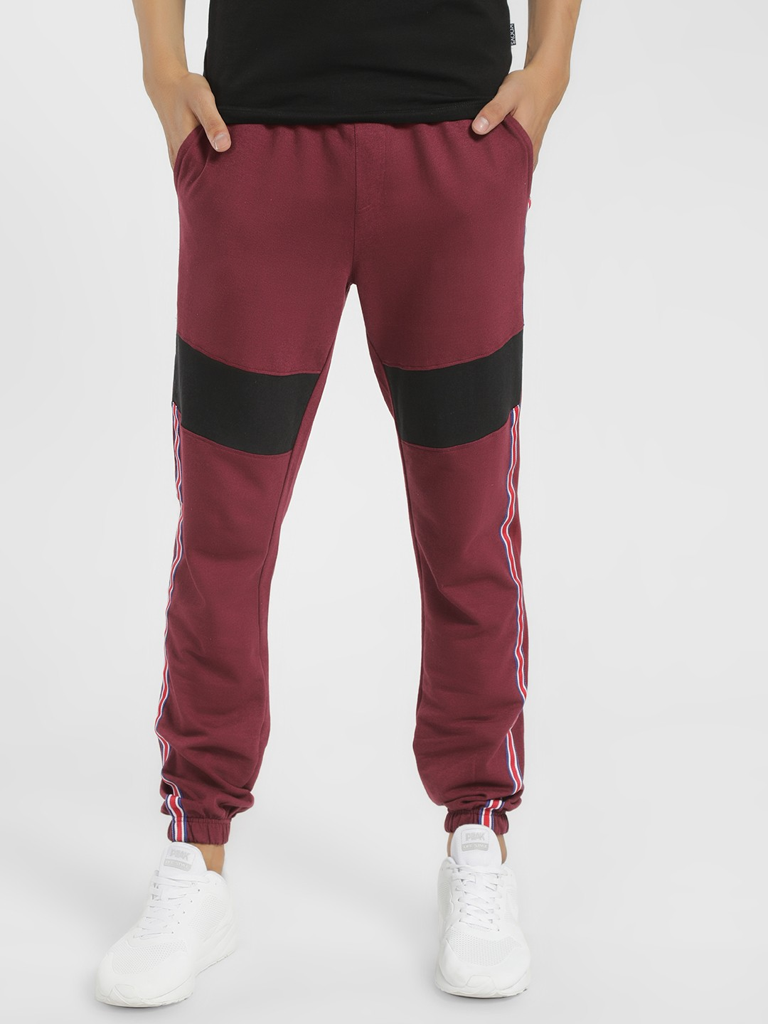 X.O.Y.O Red Cut & Sew Side Tape Joggers 1