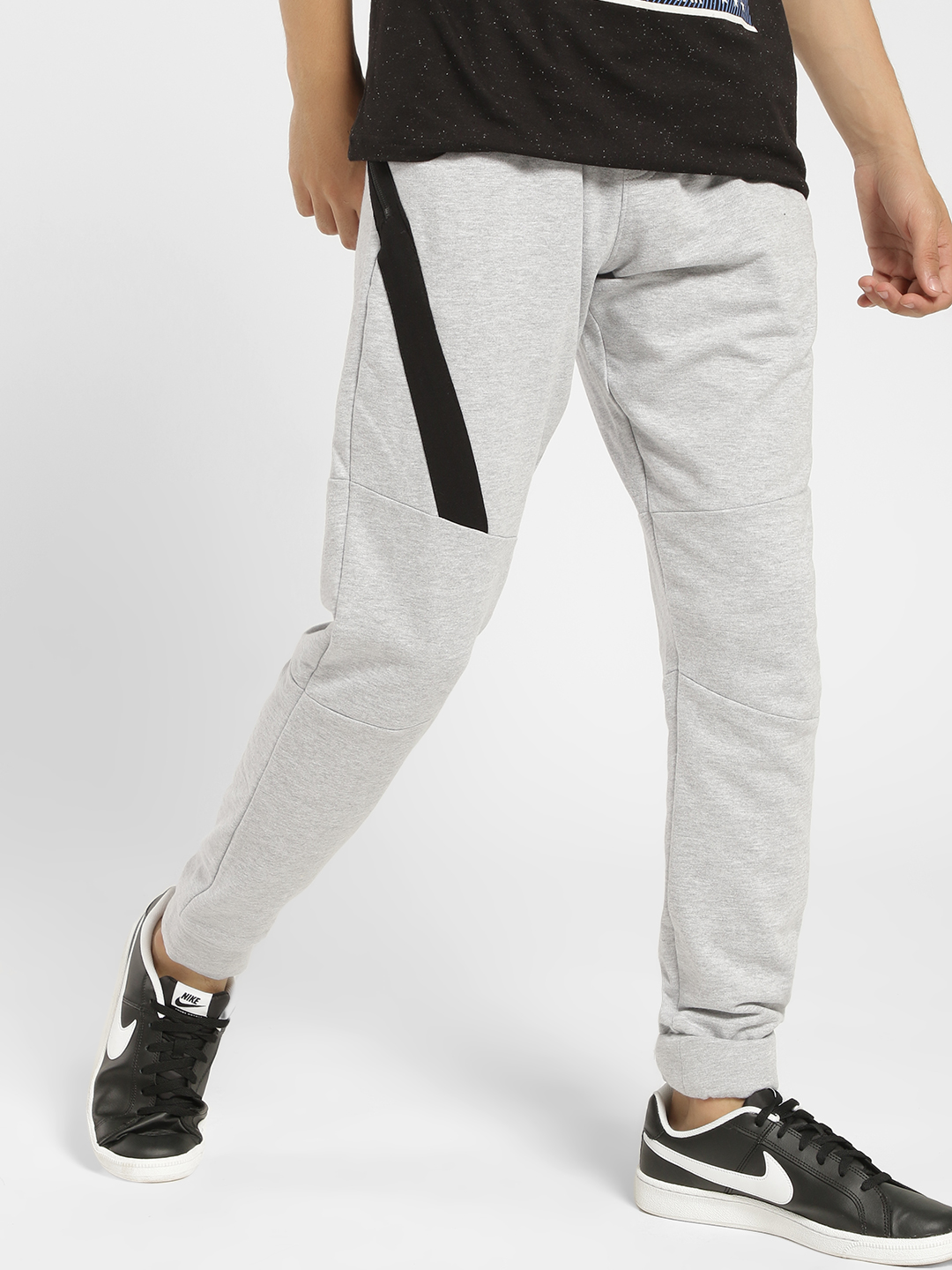 X.O.Y.O Grey Contrast Side Zipper Tape Panelled Joggers 1