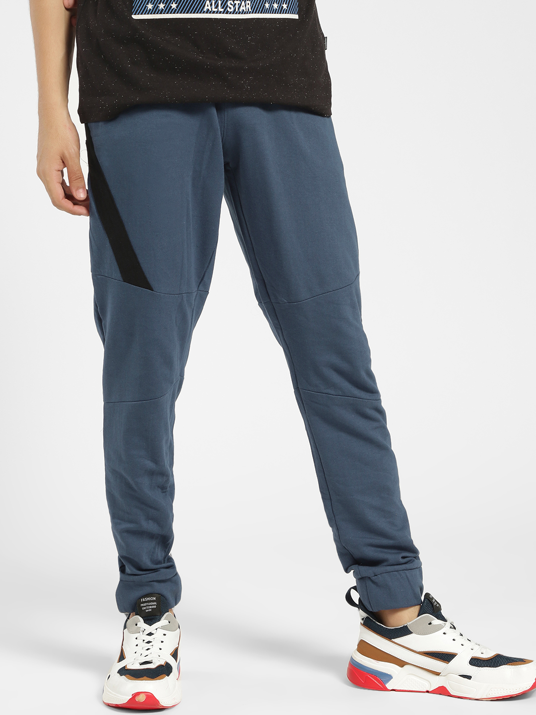 X.O.Y.O Blue Contrast Side Zipper Tape Panelled Joggers 1
