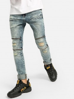 Styx & Stones Bleach Wash Distressed Slim Jeans