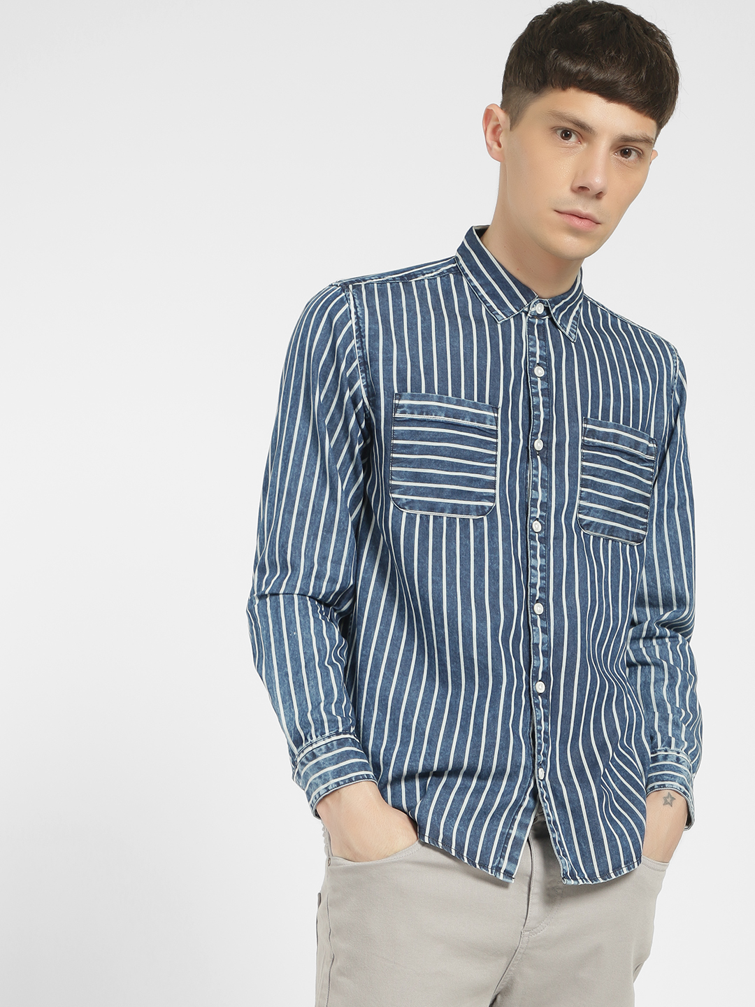 Styx & Stones Blue Vertical Stripe Washed Denim Shirt 1