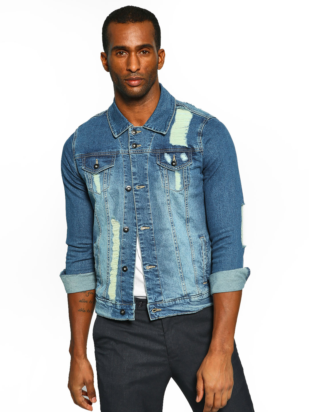 Styx & Stones Blue Light Wash Distressed Denim Jacket 1