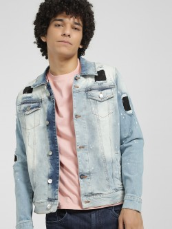 Styx & Stones Patchwork Oil Wash Denim Jacket