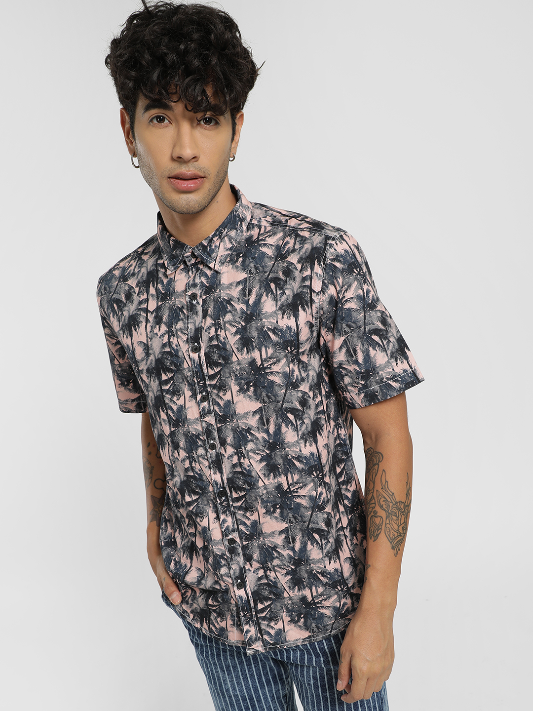 Styx & Stones Pink Tropical Print Short Sleeve Shirt 1