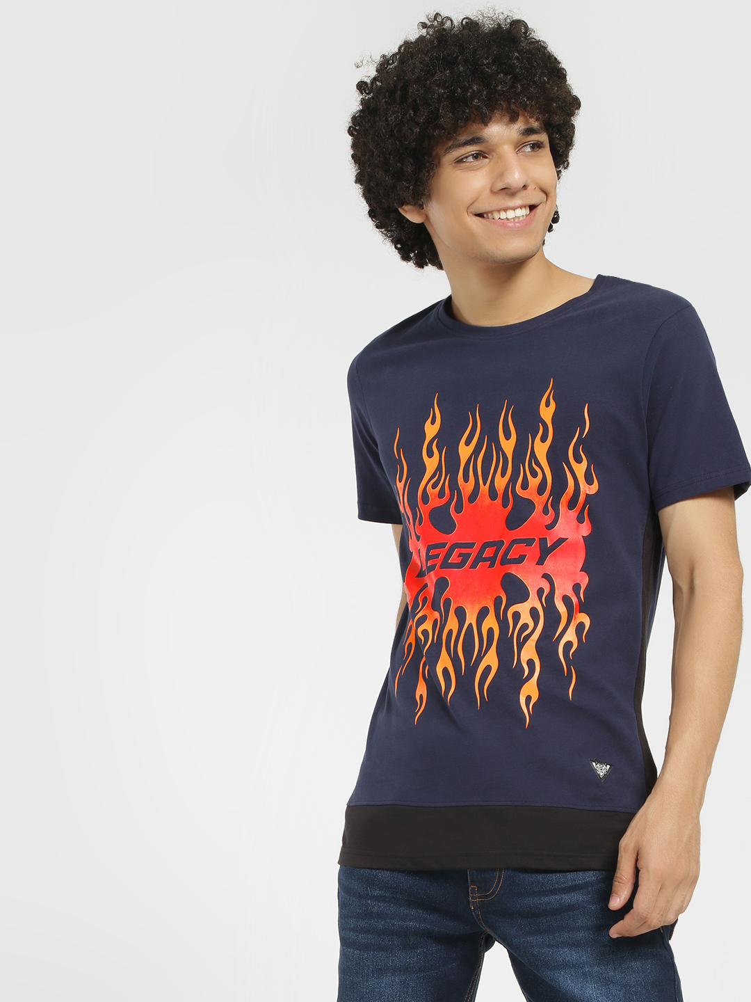 Styx & Stones Blue Legacy Fire Placement Print T-Shirt 1