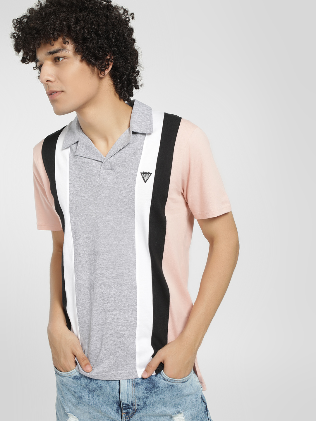 Styx & Stones Pink Vertical Stripe Colour Block Polo Shirt 1