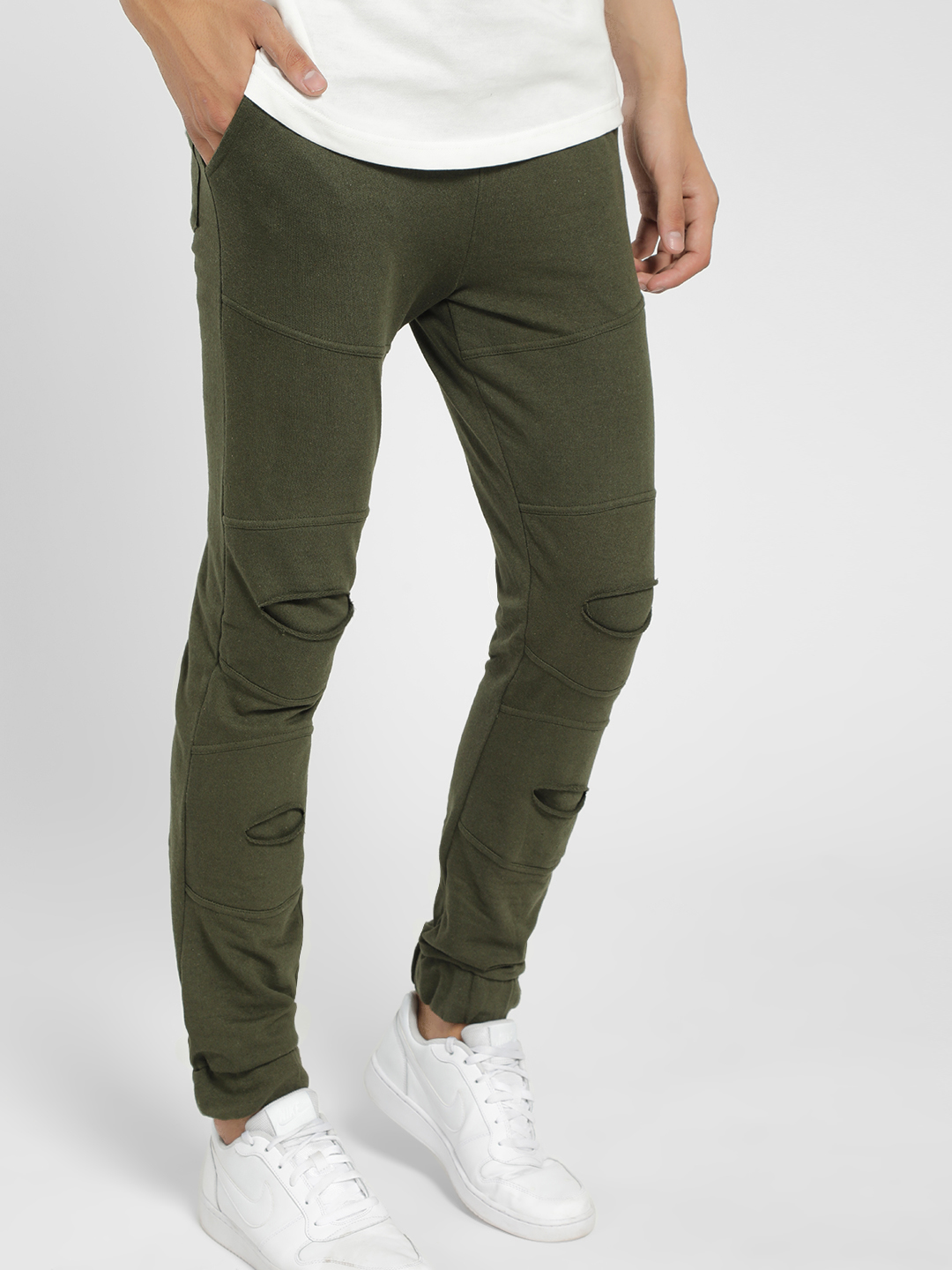 Styx & Stones Green Distressed Panelled Joggers 1