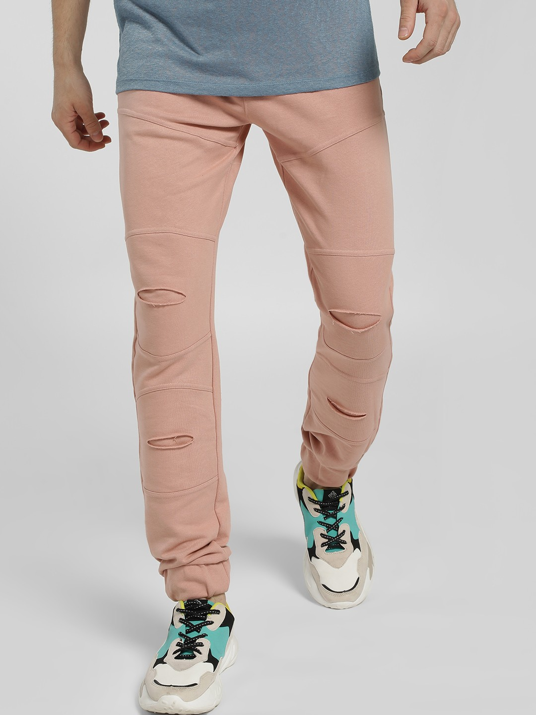 Styx & Stones Pink Ripped Biker Panel Joggers 1