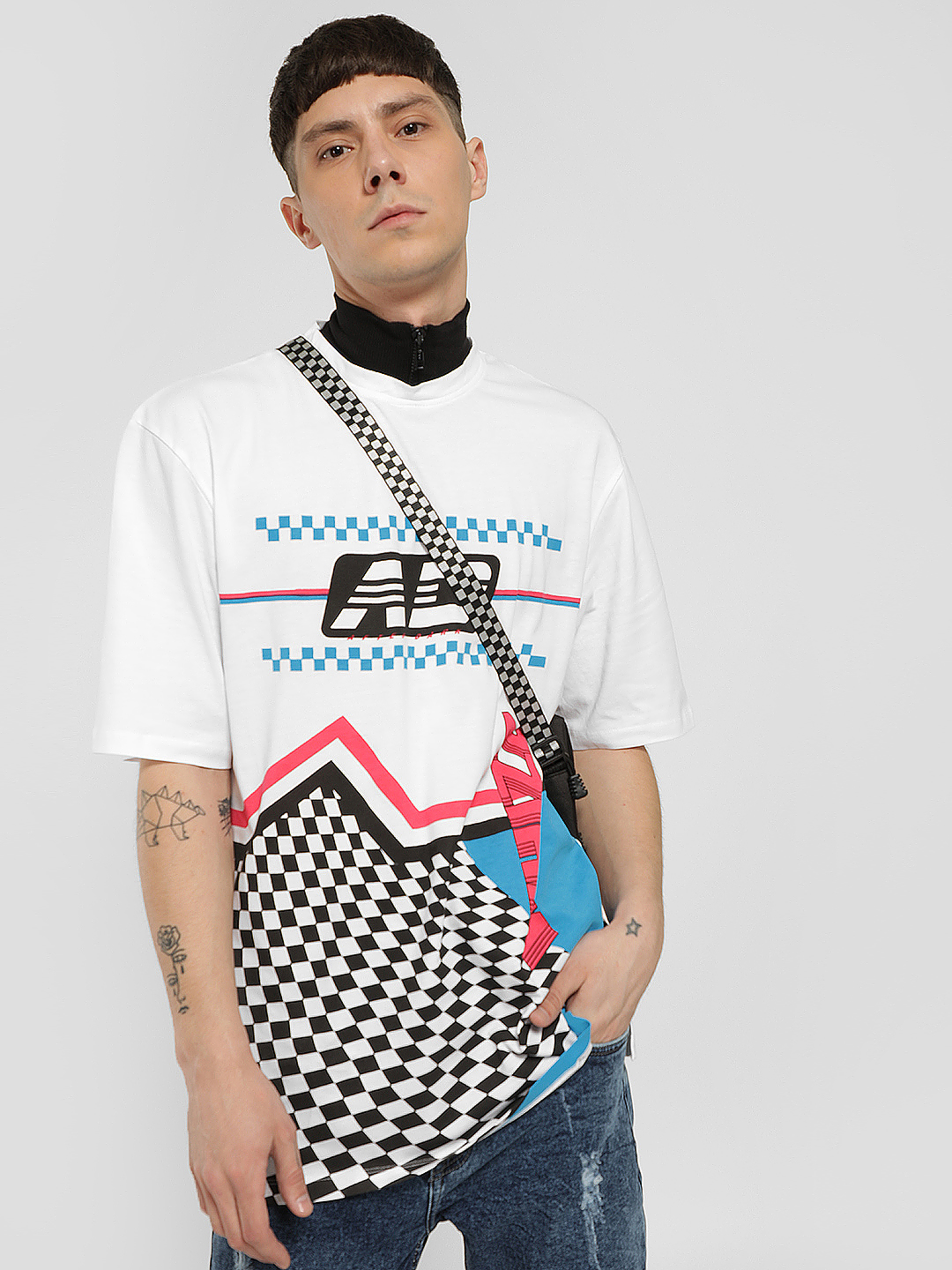 KOOVS White Mock Turtleneck Motocross Print T-Shirt 1